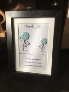 Handmade personalised wooden teacher plaquesign thank you gift teacher gift buttoncraft stickmen frame thankyou teacher buttons solutioingenieria Image collections