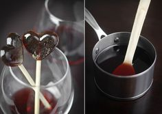 Wine Lollipops Yield: About 12 lollipops 1 cups plus 2 tbsp Port wine 3 tablespoons corn syrup cup sugar tsp. kosher salt 12 Lollipop sticks Gold luster dust *optional Bring red wine to. Drink Wine Day, Wine Drinks, Alcoholic Beverages, Candy Recipes, Wine Recipes, Dessert Recipes, Fudge, Gold Luster Dust, Lollipop Recipe