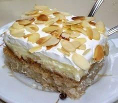 Greek Ekmek Kataifi recipe (Custard and whipped cream pastry with syrup) Base ingredients kataifi dough oz. Greek Sweets, Greek Desserts, Greek Recipes, Ekmek Kataifi Recipe, Kataifi Pastry, Greek Cooking, Fun Cooking, Cooking Recipes, Greek Cake