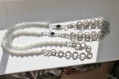 Long chic beaded necklace Inspired by the by Lisbethstafnedesigns Swarovski, Beaded Necklace, Trending Outfits, Unique Jewelry, Inspired, Handmade Gifts, Chic, Bracelets, Silver