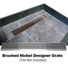 Fully Integrated Shower Base with Center PVC Drain, Center Trench with Designer Grate