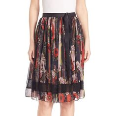 Jason Wu Lace-Inset Printed Chiffon Skirt ($1,495) ❤ liked on Polyvore featuring skirts, apparel & accessories, pleated skirt, jason wu, pleated chiffon skirt, chiffon skirt and long skirts