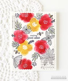 RejoicingCrafts: Flora & Fauna Sending Good Vibes. #handmade #card #stamping #flower #watercolor #spring