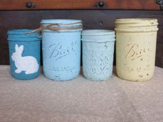 Set of Four Pastel Easter Shabby Chic Jar Vases, Wide Mouth Painted and Distressed Mason Jar with Bunny