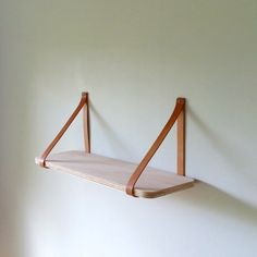 Objectify Plywood/Leather Strap Shelf Large Leather Strap Shelves, Plywood Shelves, Interior Design Living Room, My Design, Design Ideas, Make It Yourself, Shelf, Etsy, Brass