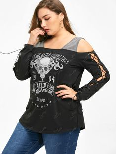 Halloween Plus Size Lace Up Cold Shoulder Top - BLACK 5XL