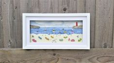 Summer holiday beach scene created from pieces of beah combed sea glass and sea shell set inside an impressive 24cm x 44cm glass fronted box frame Cornish Beaches, Coastal Wall Decor, Sea Glass Beach, Beach Scenes, Winter Day, Unique Home Decor, Box Frames, Sea Shells, Special Gifts