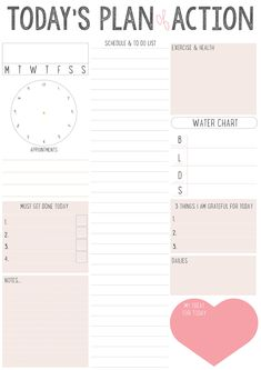 daily exercise A Plurk friend was going to buy one of these off Etsy and it wasn't cheap for what it was so made one very similar, you can grab it here: , is a pdf file. To Do Planner, Daily Planner Pages, Daily Planner Printable, Study Planner, Planner Template, Life Planner, Weekly Planner, Happy Planner, Schedule Templates