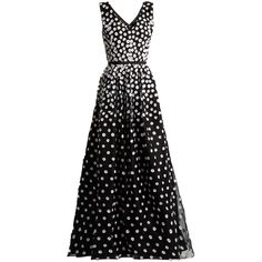 Oscar De La Renta Floral-appliqué silk-organza gown ($6,490) ❤ liked on Polyvore featuring dresses, gowns, black white, floral print dress, black and white dresses, floral print evening gown, floral evening dresses and oscar de la renta gowns