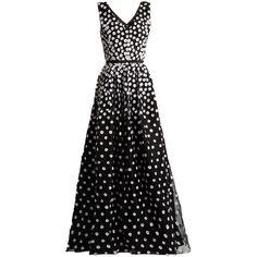Oscar De La Renta Floral-appliqué silk-organza gown (€6.010) ❤ liked on Polyvore featuring dresses, gowns, long dresses, black white, black and white gown, floral evening dresses, flower dress, floral dresses and floral applique dress