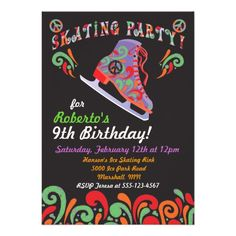 Groovy Black Ice Skating Party Invitations