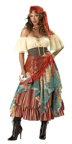 A gypsy or fortune teller costume should be easy to make, using old clothes and mismatched skirts.