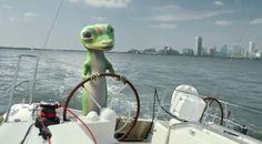 The GEICO Gecko is taking a nice relaxing boat trip, but soon runs into some choppy waters. Will someone save him? Geico Lizard, Silly Words, Choppy Water, Happy Stories, Best Commercials, Types Of Animals, Tv Ads, Baltimore, Funny Animals