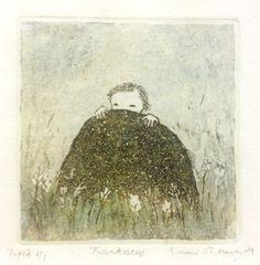 Emmi Vuorinen grafiikkaa teos/taulu Kurkistus - Life Art Oy Helene Schjerfbeck, Sweet Drawings, Etchings, Suddenly, All Art, Finland, Printmaking, Modern Art, Fairy Tales