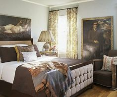 Soft gray-blue paired with dark mahogany furniture and chocolate brown bedding give this room a refined elegance.  Designer David Bromstad's Color Tip: Gray-blue is tranquil and versatile and it doesn't look juvenile like more vibrant blues can