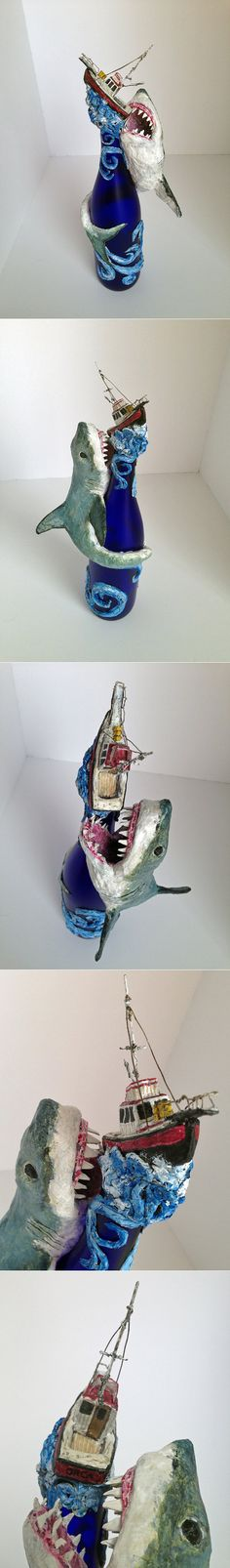 Great White Shark sculpture made from wine от WirePaperPasteNPaint
