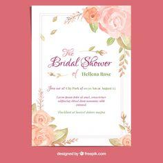 O convite bonito do casamento com flores da aguarela vetores bachelorette card with watercolor roses free vector stopboris Image collections