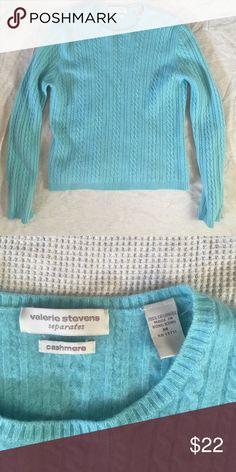 Valerie Stevens cashmere sweater Robin's egg blue cashmere sweater. No pilling, looks brand new. Valerie Stevens Sweaters Crew & Scoop Necks