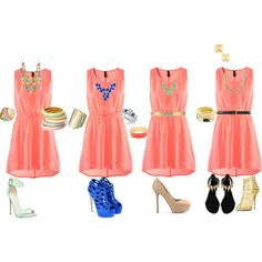 Coral Dress with different accessories and shoes