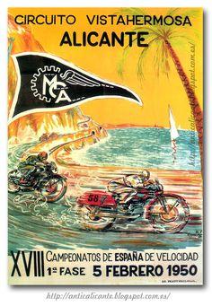 Antiguo cartel de los XVIII Campeonatos de España de velocidad, año 1950