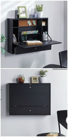12 floating desks that look great and take up minimal space - Wall-mounted fesk. The front folds down to create a workspace fit for a laptop while four compartments keep you organized and one angled paper organizer keeps active projects easily accessible. Space Saving Desk, Space Saving Furniture, Desk Space, Space Saving Bedroom, Wall Mounted Desk, Wall Desk, Wood Computer Desk, Ikea Wall, Smart Furniture