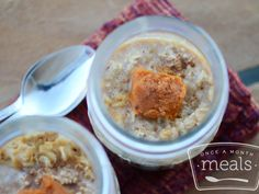 GFDF Pumpkin Overnight Oatmeal recipe- make ahead of time so you can keep in the freezer.  #freezercooking #glutenfree #dairyfree