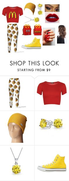 """""""McDonald's look."""" by pip1019 ❤ liked on Polyvore featuring Moschino, WearAll, Neff, Bling Jewelry and Converse"""