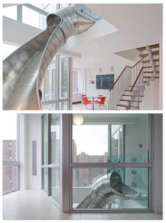 Slide Penthouse Condos: Located in NYC East Village, the idea behind the slide penthouse condos was to connect the interior of two apartments.