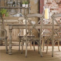 Hooker Furniture Wakefield Rectangle Leg Dining Table in Taupe - 5004-75200