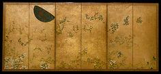 72. 月に秋草図屏風, Moon and Autumn Grasses - Studio of Tawaraya Sōtatsu - Edo period (mid- to late 17th century)