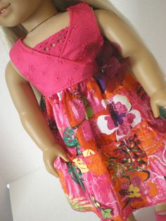 Floral Sundress,  American Girl Doll Clothes. $16.00, via Etsy.