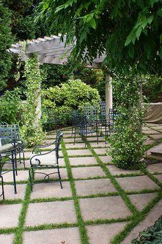 Beautiful terrace. #romantic #home #house #grass #tiles #green #plants #oasis