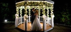 Lighted gazebo at night serves as a magical photo opp.