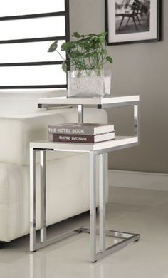 White Coffee Table End Chair Side Snack Book Vase Home Modern Furniture Chome #eHomeProducts