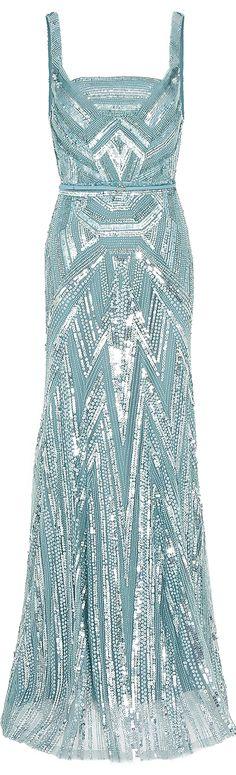 Elie Saab ● Beaded Gown in Blue