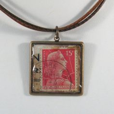 Vintage French Poastage Stamp Pendant Necklace   Cancelled by 12be, $14.50