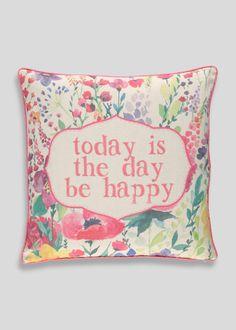 Be Happy Print Cushion (45cm x 45cm)