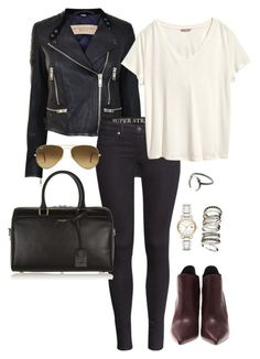 """""""Untitled #520"""" by jillianinwonderland ❤ liked on Polyvore featuring Burberry, H&M, Yves Saint Laurent and Ray-Ban"""