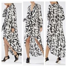 """Bcbg black and white long sleeve high low dress Gorgeous brand new bcbg max azria black and white high low dress! Has long sleeves. Drape front with two strings! This dress is elegant, chic and classy! Looks stunning! Can be worn with a high waisted belt to accentuate curves or waist line. Dress is size XXS. Brand new with tags as shown! Purchased for the original price listed. Never worn since I'm 5""""2 dress was too long on me. NO TRADES BCBGMaxAzria Dresses High Low"""