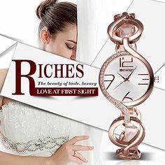 Luismia Women Bangle Bracelet Quartz Watch – Rose Gold Round Cross Circle Hollow-out Bangle Bracelet Watch with Rhinestone Embedded