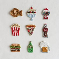 🐟🍧🍬🍿🍕🍾🍔🍋🍺 Embroidered patches by atelier_hola Embroidery Works, Learn Embroidery, Hand Embroidery Stitches, Embroidery Fabric, Embroidery Patches, Hand Embroidery Designs, Cross Stitch Embroidery, Embroidered Patch, Needlework