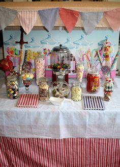 roses around my door sweet stall Lolly Buffet, Candy Buffet, Stall Decorations, Candy Trees, Vintage Sweets, Candy Cart, Chocolate Fountains, Diy Banner, Fun Fair
