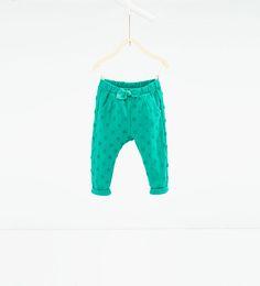 Image 1 of Polka dot jacquard trousers from Zara