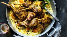 Lamb cutlets in masala with almond and pumpkin curry