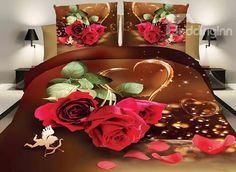 Romantic Red #Rose Lovely Cupid Design Wedding 4-Piece Polyester Duvet Cover Sets #3d #bedroom #bedding