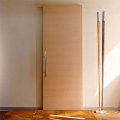Porta em madeira de correr simples com trilho superior