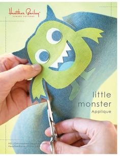 Free Pattern & Tutorial from Heather Bailey - Add a little monster to your next homemade project.