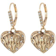 Betsey Johnson Heaven Sent Heart Drop Earrings Earring, Gray ($25) ❤ liked on Polyvore featuring jewelry, earrings, grey, pave heart earrings, pave heart charm, heart shaped earrings, drop earrings y heart earrings