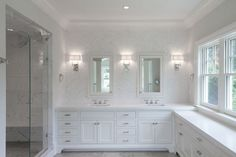 A Fairfield County Shoreline Home Master Bathroom - Transitional - Bathroom - New York - by Bluewater Home Builders Bathroom Spa, White Bathroom, Master Bathroom, Bathroom Ideas, Bathroom Marble, Bathroom Interior, Chevron Bathroom, Chevron Tile, Bathroom Laundry