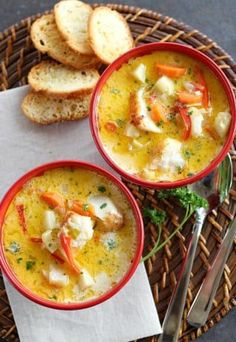 Oven Baked Chowder is made with classic vegetables and mild white fish. Paleo friendly, this method is effortless with a huge flavor payoff. TO MAKE GAPS-FRIENDLY: swap out parsnips for celery root, use creme fraiche instead of cream. Seafood Recipes, Paleo Recipes, Soup Recipes, Cooking Recipes, Chowder Recipes, Seafood Meals, Seafood Soup, Chili Recipes, Recipies
